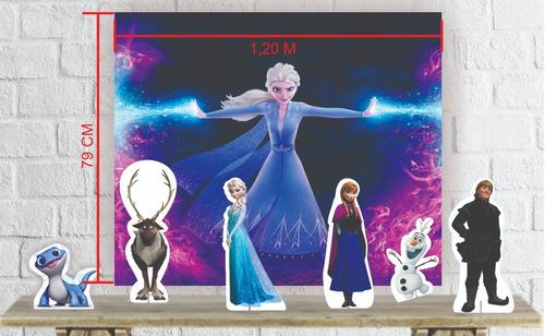 kit festa com mini totens e painel decorativo frozen