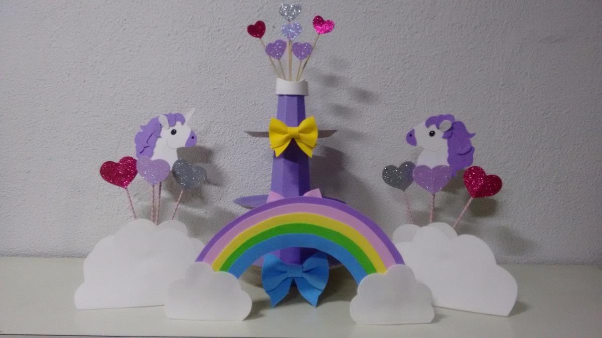 Kit Festa Decoraç u00e3o Unicórnio Festa Infantil R$ 70,00 em Mercado Livre -> Decoração De Festa Unicórnio Infantil