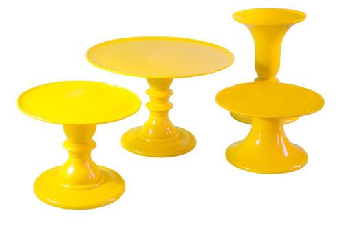 kit festa desmontável várias cores - bandeja, boleira, vaso