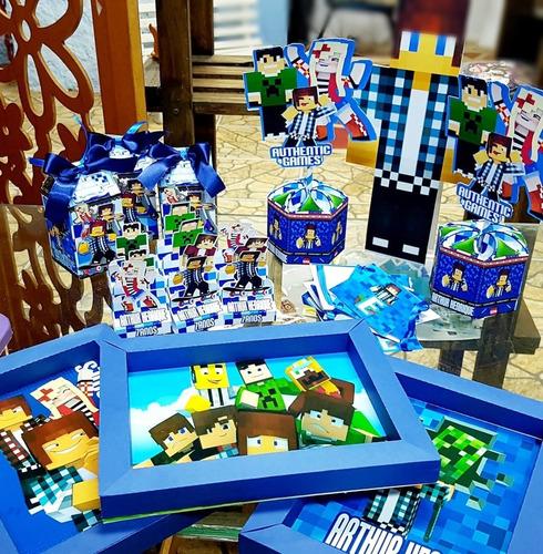 kit festa em casa - topper+bandeirola+painel authentic games