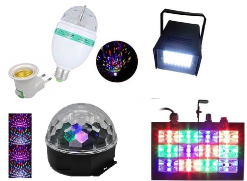 kit festa iluminação dj balada jogo de luz led strobo rgb