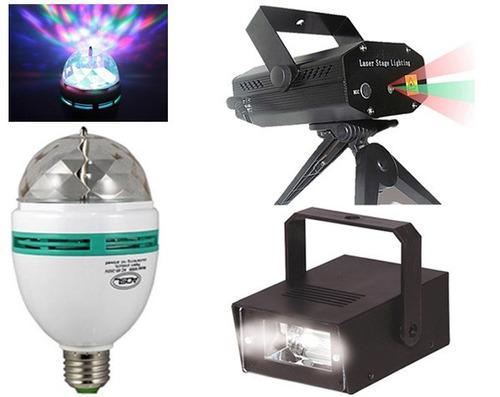 kit festa iluminação - strobo projetor laser bola maluca