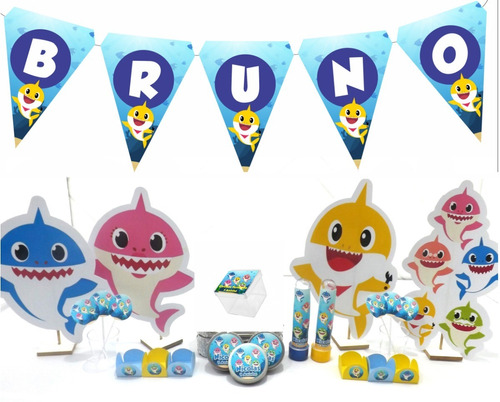 kit festa infantil 150pçs - baby shark - personalizado