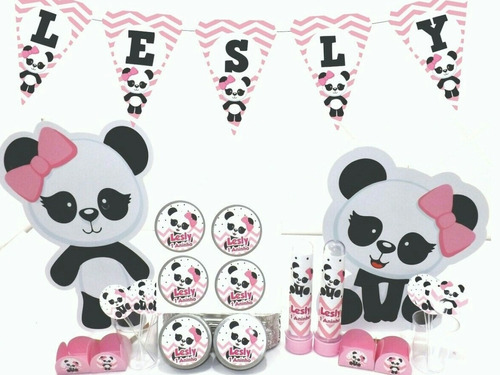 kit festa infantil 150pçs - panda rosa - personalizado