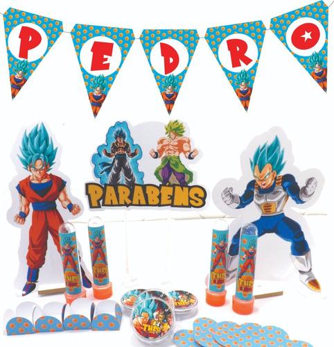 kit festa infantil 300pçs dragon ball super - personalizado
