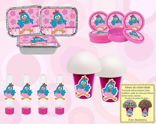 kit festa infantil galinha pintadinha menina (rosa) 32 peças