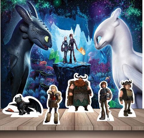 kit festa infantil painel + displays como treinar seu dragão