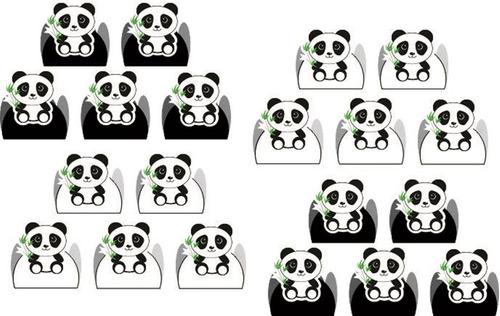 kit festa infantil panda menino (preto e branco) 160 peças