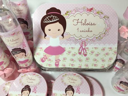 kit festa infantil personalizado bailarina 120 produtos