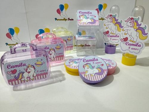 kit* festa infantil personalizado tema unicórnio - 100 unid.