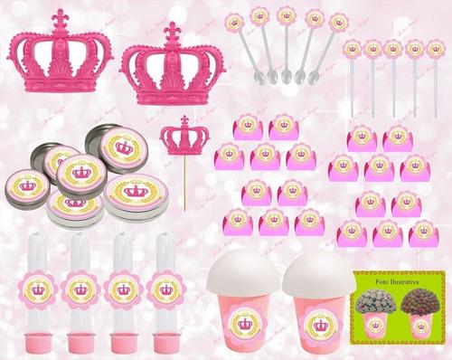 kit festa infantil realeza menina (coroa rosa) 143 peças