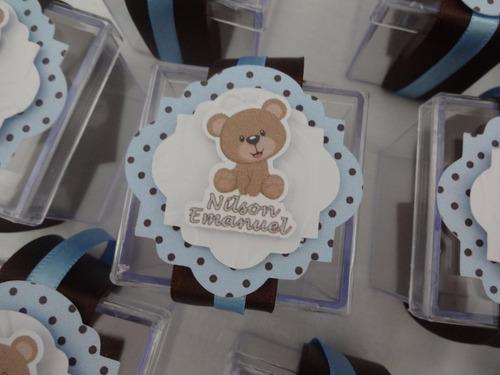 kit festa infantil ursinho marrom e azul - scrap