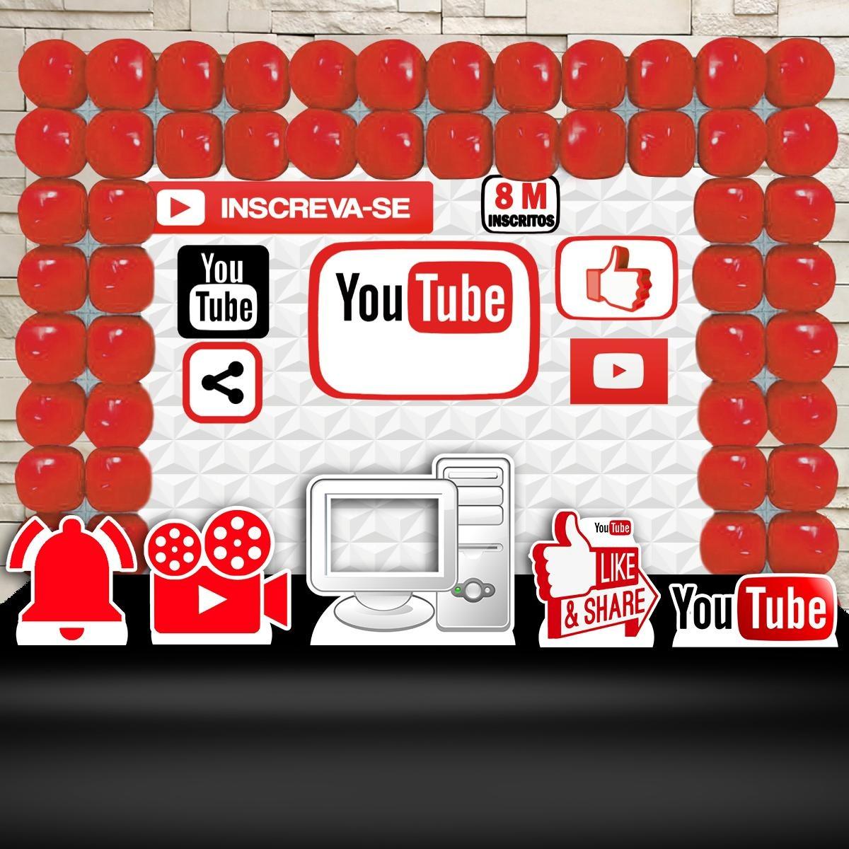 a4c210388 Kit Festa Aniversário You Tube Decoração Kit Prata - R  90