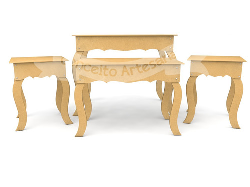 kit festa mdf 4 mesas lisa decoração + 1 arm liso + cx lisa