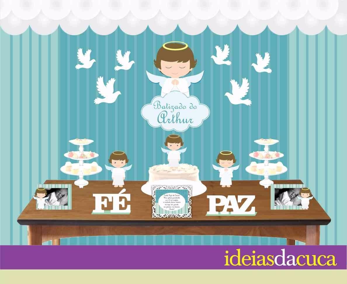 Kit Festa Mdf Decoraç u00e3o Completa Batismo Menino Batizado R$ 299,00 em Mercado Livre -> Decoração De Batizado Com Anjos Simples