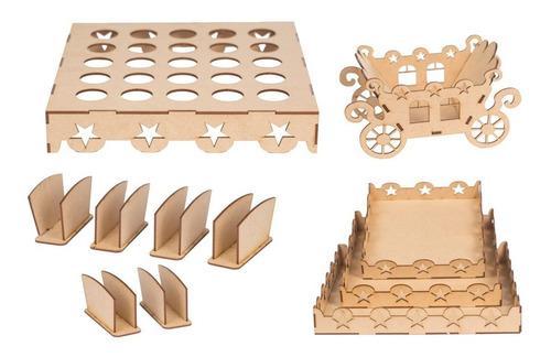 kit festa mdf provençal decoração 43 peças estrela cru