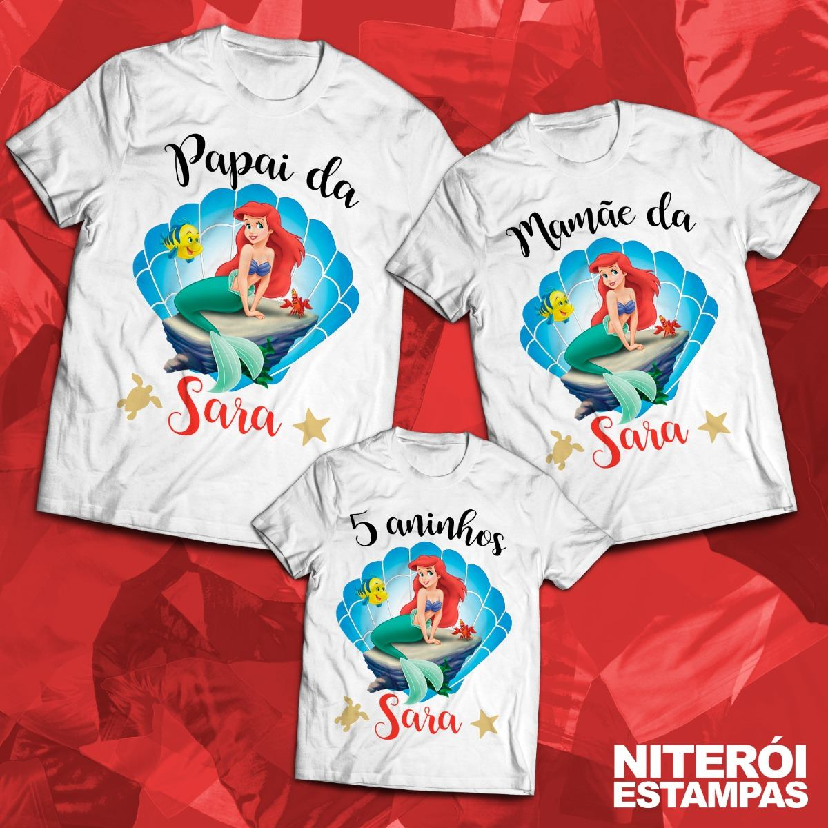 f74bf927f Kit Festa Pequena Sereia - 3 Blusas Personalizadas - R  63
