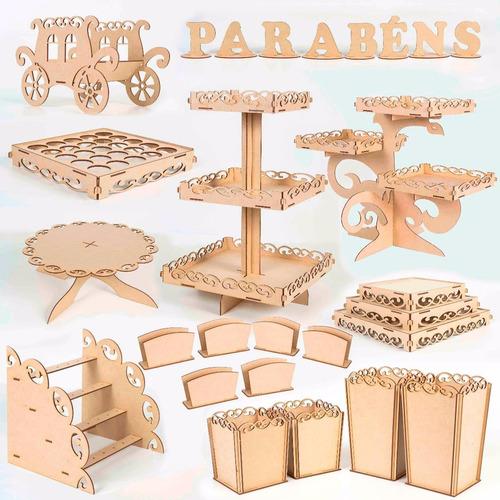 kit festa provençal bolo niver decoração mdf luxo 32 peças