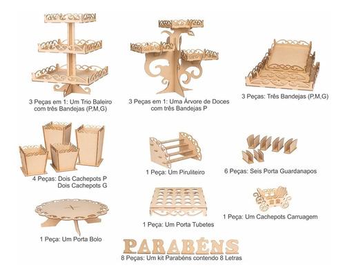 kit festa provençal  decoração mdf cru arabesco 43 peças