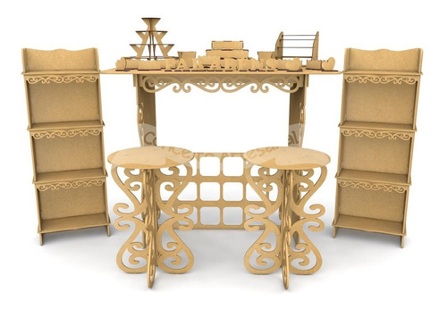 kit festa provençal mdf 30 peças mesa armário colmeia bolo