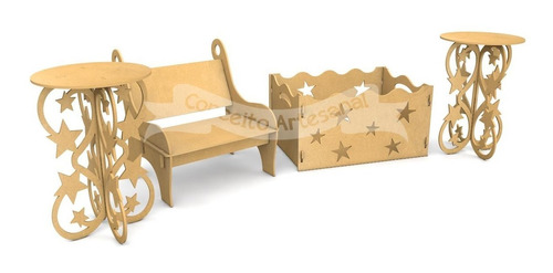 kit festa provençal mdf 4 peças mesa bolo caixa pres banco