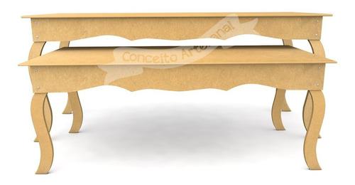 kit festa provençal mesa 1.50x80 + 1.20x60 arabesco lisa