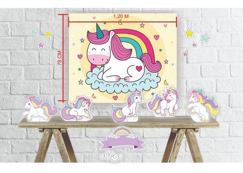 kit festa totens e painel decorativo infantil unicórnio