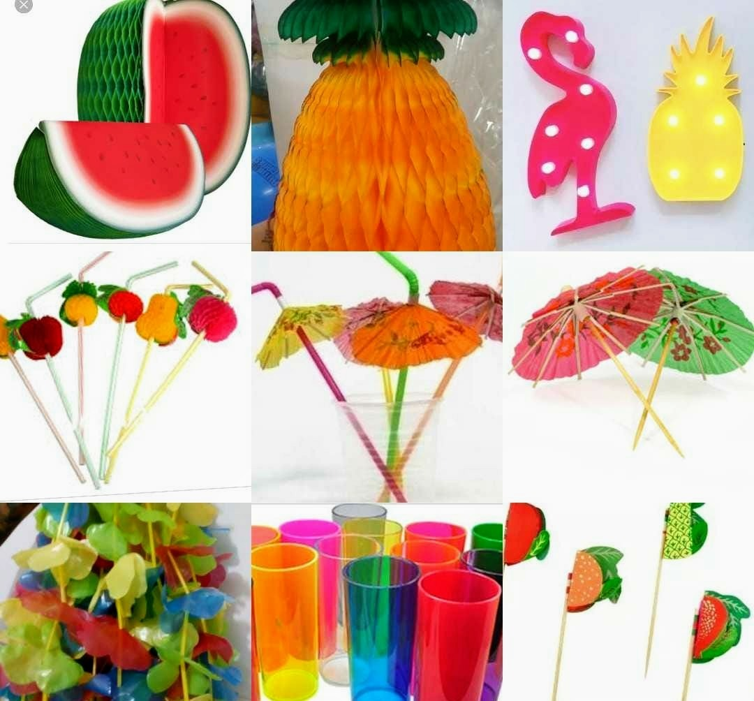 Kit Festa Tropical Luau Havaiano Decoraç u00e3o Festa Havaiana R$ 205,90 em Mercado Livre -> Decoração De Festa Havaiana Simples