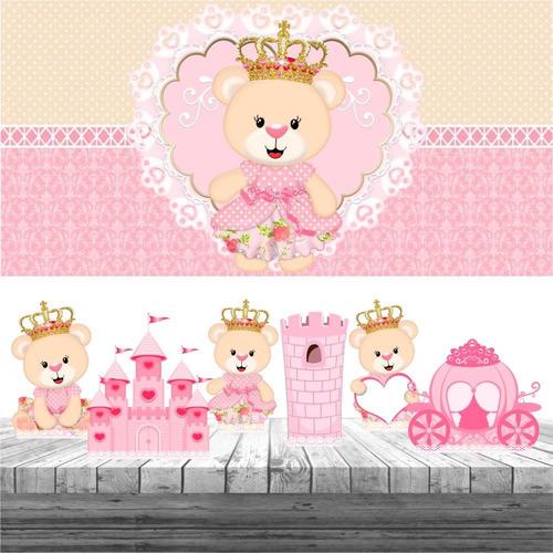 kit festa ursinha princesa 6 display + painel aniversário