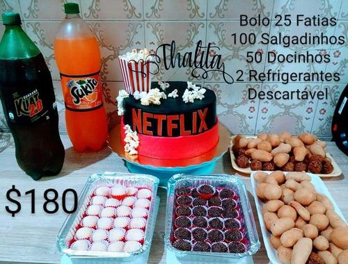kit festas personalizados com topo de bolo grátis