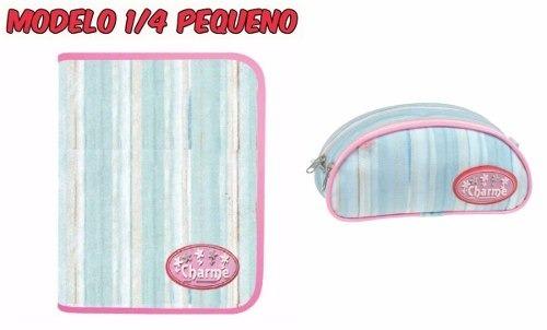 019d2d9c1 Kit Fichário Escolar Pequeno Feminino Azul Charme + Estojo - R$ 99 ...