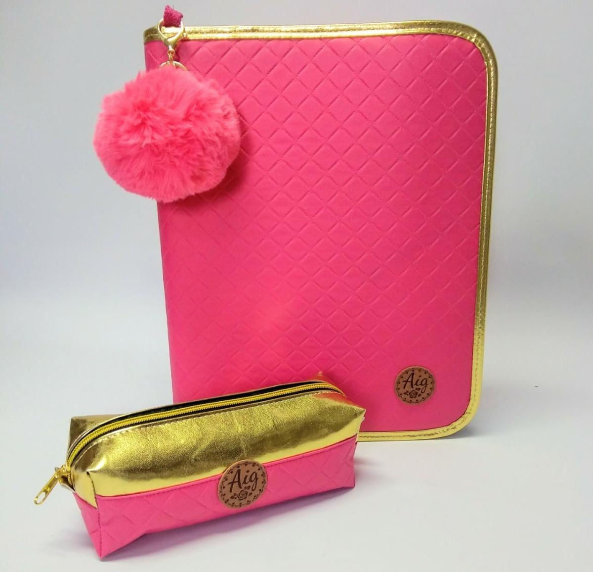 4a845ff38 kit fichário feminino + mochila + estojo matelâsse pink aig. Carregando zoom .