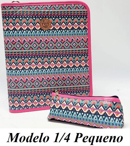 13450158f Kit Fichário Tamanho Pequeno 1/4 + Estojo Indiano Rosa Aig - R$ 82 ...