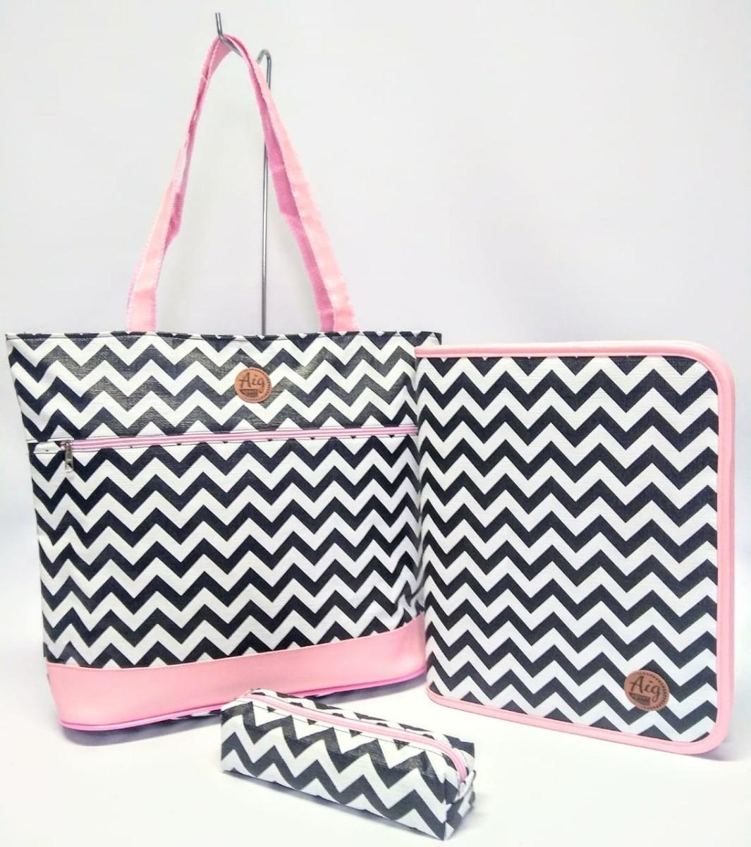 1f49bd521 kit fichário universitário + bolsa + estojo zig zag rosa. Carregando zoom.