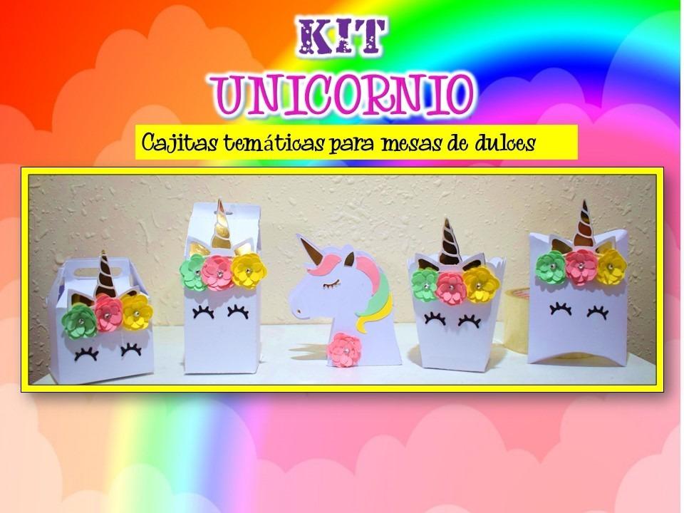 Kit fiesta 30 cajas y etiquetas mesa dulces unicornio for Diseno de mesa de unicornio