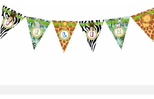 kit fiesta bolsitas, banderín, candy, animales jungla selva