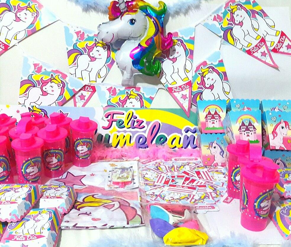 Kit Fiesta Unicornio Cumpleanos Nina Arcoiris Pinata Infanti