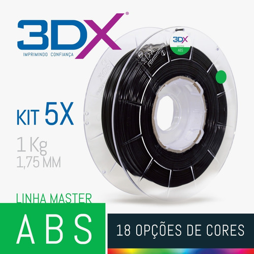 kit filamento abs 1,75 mm   5 x 1kg