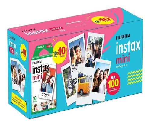 kit filme instax mini fujifilm - pack para 100 fotos com nf