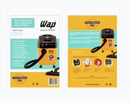 kit filtro de papel (saco) aspirador wap 20 lts 3 unid