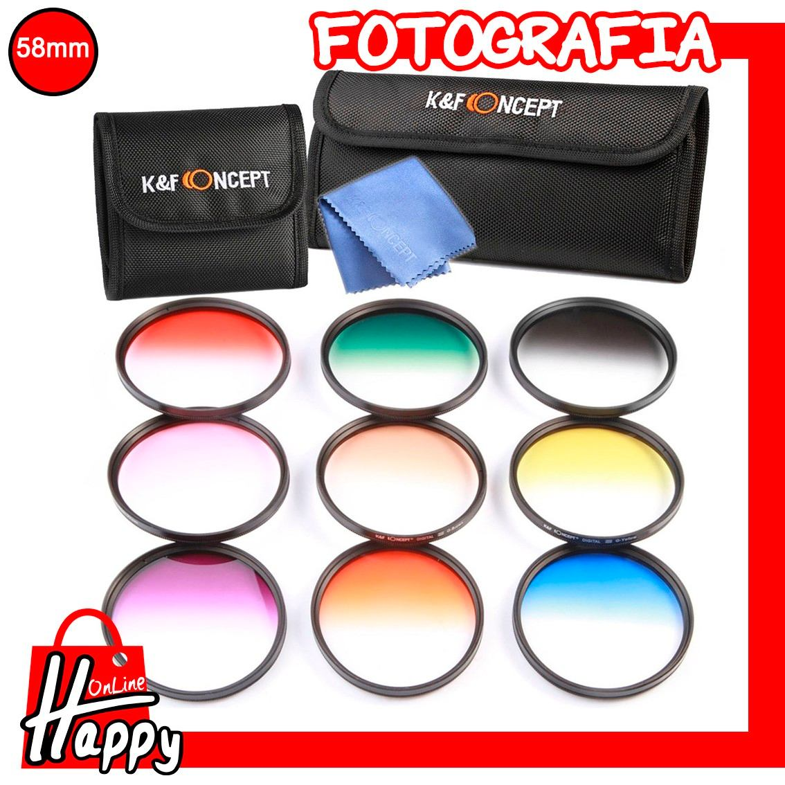 kit filtro k&f 58mm graduado 9 unidades + estuche