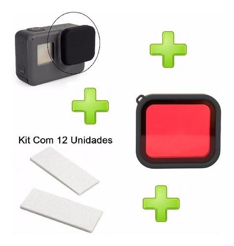 kit filtro + tampa + pastilhas anti-embaçantes para gopro 5