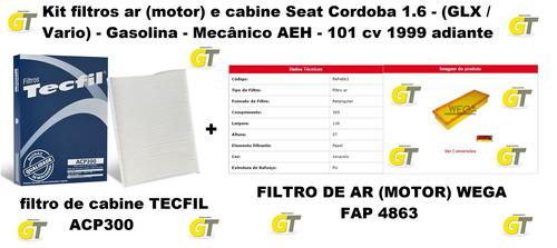 kit filtros ar (motor) e cabine seat cordoba 1.6 101cv 99...