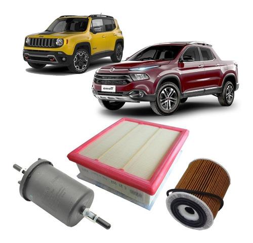 kit filtros de ar oleo e combustivel - jeep renegade 1.8 16v flex etorq após 2016 e fiat toro 1.8 16v flex após 2015