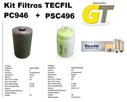 kit filtros tecfil pc946 + psc496