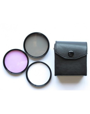 kit filtros uv cpl fld 52mm + parasol 52mm