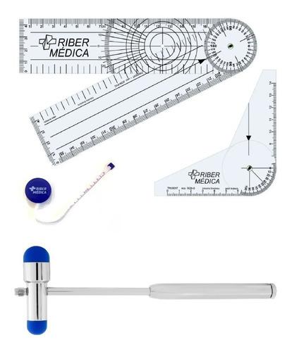 kit fisioterapia goniômetro grande e pequeno trena e martelo