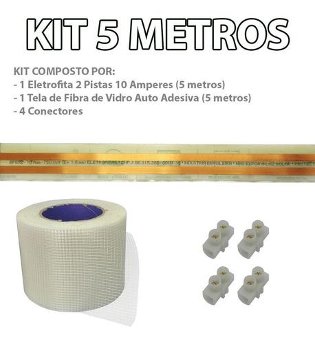 kit fita elétrica 2 pistas - 5 metros eletrofita adesiva