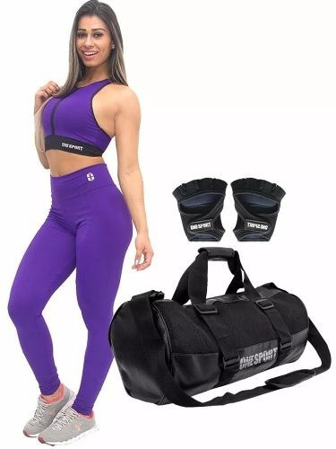kit fitness academia legging/top + acessorios imperdivel fem