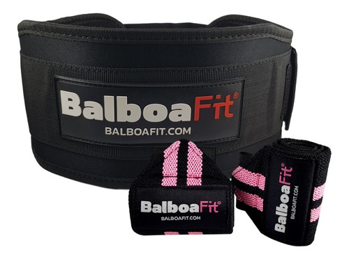 kit fitness cinturon + muñequeras + strap balboafit original
